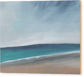 Spring Beach- Contemporary Abstract Landscape Wood Print by Linda Woods