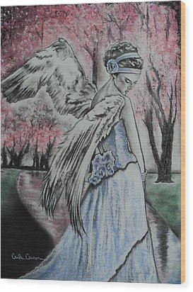 Spring Blossom Angel Wood Print by Carla Carson