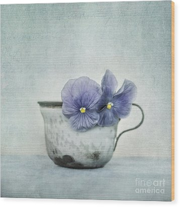 Spring Blues With A Hint Of Yellow Wood Print by Priska Wettstein