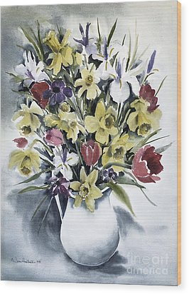 Wood Print featuring the painting Spring Bouquet by Joan Hartenstein