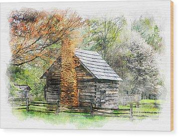 Spring Cabin II - Blue Ridge Parkway Wood Print by Dan Carmichael