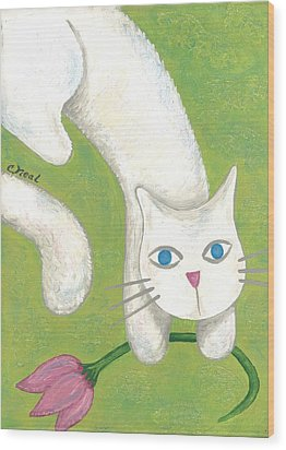 Spring Cat Wood Print