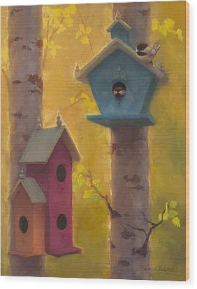 Spring Chickadees 2 - Birdhouse And Birch Forest Wood Print by Karen Whitworth