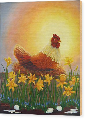 Wood Print featuring the painting Spring Chicken by Karen Mattson