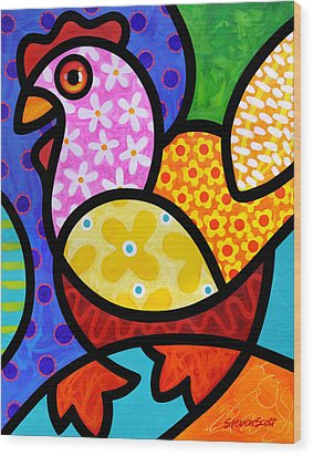 Spring Chicken Wood Print