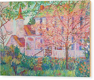 Spring Church Scene Wood Print by Kendall Kessler