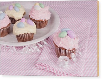 Cupcakes With A Spring Theme Wood Print by Vizual Studio