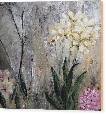 Wood Print featuring the painting Spring Desert Flowers by Lisa Kaiser