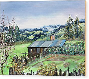 Wood Print featuring the painting Spring Farm by Asha Carolyn Young