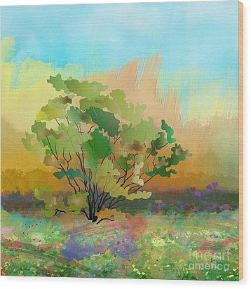 Spring Field Wood Print by Bedros Awak