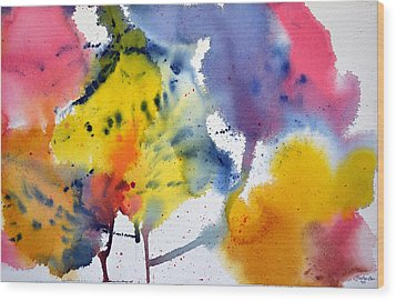 Wood Print featuring the painting Spring Fling by Joan Hartenstein
