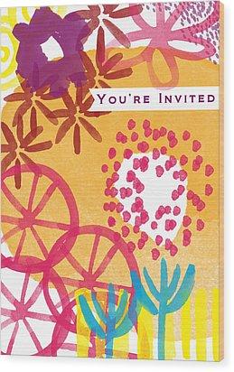 Spring Floral Invitation- Greeting Card Wood Print by Linda Woods