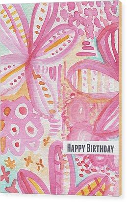 Spring Flowers Birthday Card Wood Print by Linda Woods