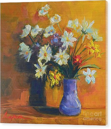 Spring Flowers In A Vase Wood Print by Patricia Awapara