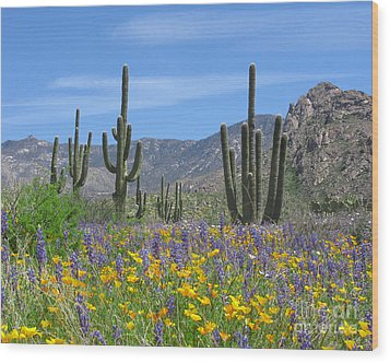Spring Flowers In The Desert Wood Print