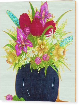 Spring Flowers Wood Print by Rae Chichilnitsky
