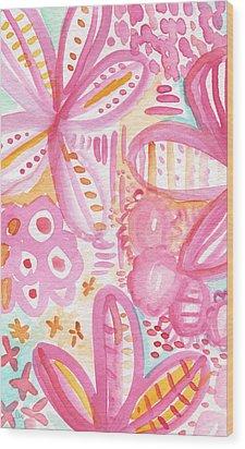 Spring Flowers- Watercolor Painting Wood Print by Linda Woods