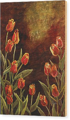 Wood Print featuring the painting Spring Garden II by Vic  Mastis