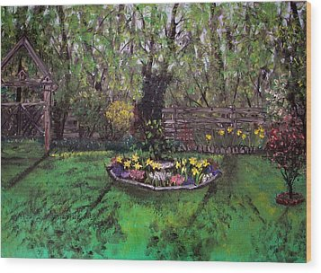 Wood Print featuring the painting Spring Garden by Judy Via-Wolff