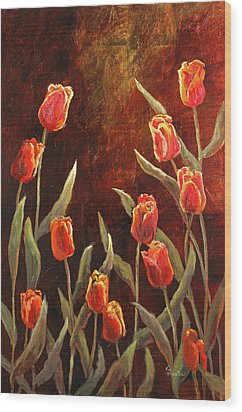 Wood Print featuring the painting Spring Garden by Vic  Mastis