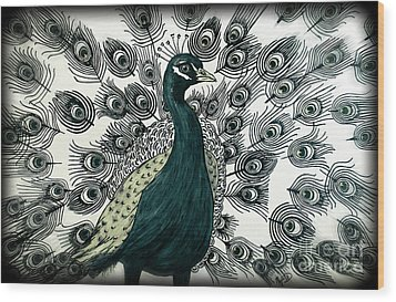 Spring Green Peacock Wood Print