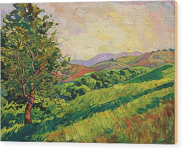 Spring Greens Wood Print by Erin Hanson