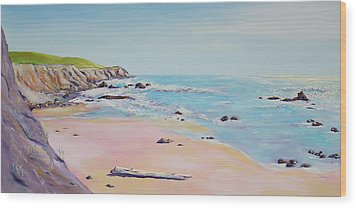 Spring Hills And Seashore At Bowling Ball Beach Wood Print