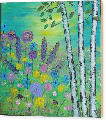 Spring Hillside Wood Print