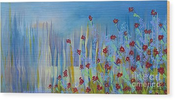 Wood Print featuring the painting Spring Illusion by Nereida Rodriguez