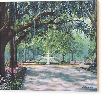 Spring In Forsythe Park Wood Print by Stanton Allaben