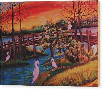 Wood Print featuring the painting Spring In Lutz Florida by Yolanda Rodriguez