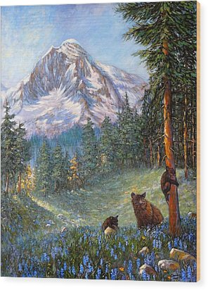 Wood Print featuring the painting Spring In The Cascades by Charles Munn