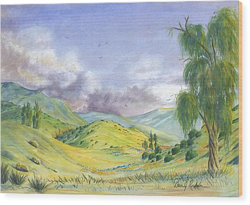 Wood Print featuring the painting Spring In The Corona Hills by Dan Redmon