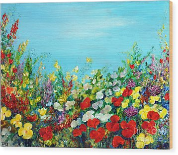 Wood Print featuring the painting Spring In The Garden by Teresa Wegrzyn