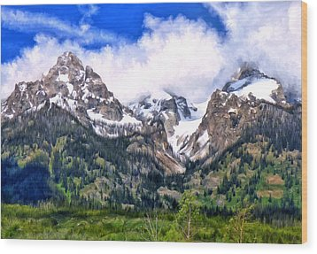 Wood Print featuring the painting Spring In The Grand Tetons by Michael Pickett