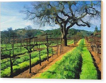 Spring In The Vineyard Wood Print by Elaine Plesser