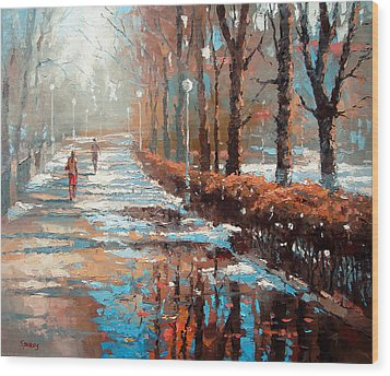Wood Print featuring the painting Spring Is Coming by Dmitry Spiros
