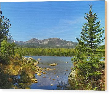 Wood Print featuring the photograph Spring Katahdin by Gene Cyr