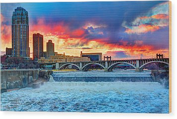 Spring Melt On The Mississippi Wood Print by Amanda Stadther