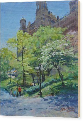 Spring Morning In Central Park Wood Print