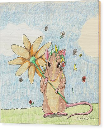 Spring Mouse Wood Print by Wendy Coulson