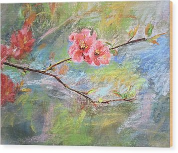 Wood Print featuring the painting Spring Peach Blosom by Jieming Wang