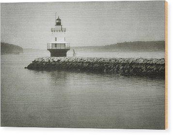 Spring Point Ledge Light Wood Print by Joan Carroll