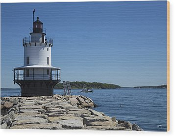 Spring Point Ledge Light Wood Print by Karol Livote