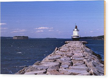 Spring Point Ledge Lighthouse Wood Print by Skip Willits