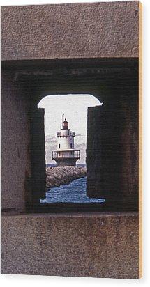 Spring Point Ledge Lightouse Wood Print by Skip Willits