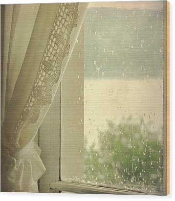 Wood Print featuring the photograph Spring Rain by Sally Banfill