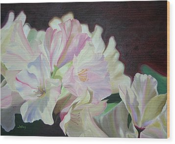 Wood Print featuring the painting Spring Rhodys by Nancy Jolley