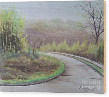 Wood Print featuring the painting Spring Road by Rose Wang