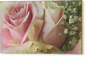 Spring Romance Pink Roses Wood Print by Danielle  Parent